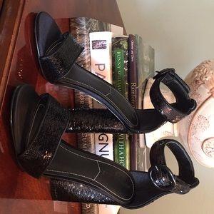 KENDALL & KYLIE Black Sequin Ankle Strap Heels